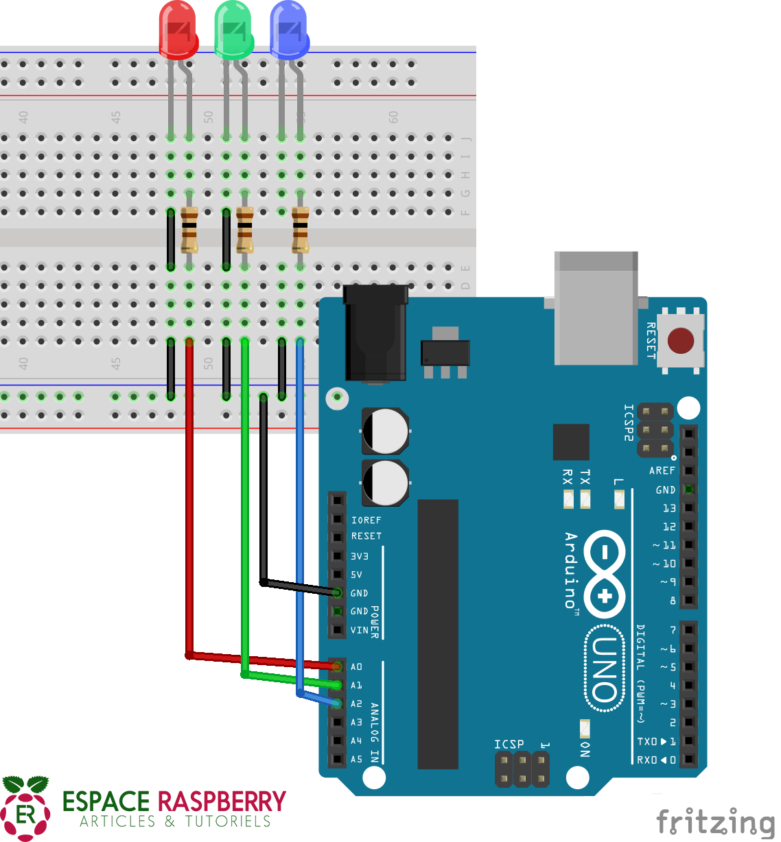 Branchement LED Arduino